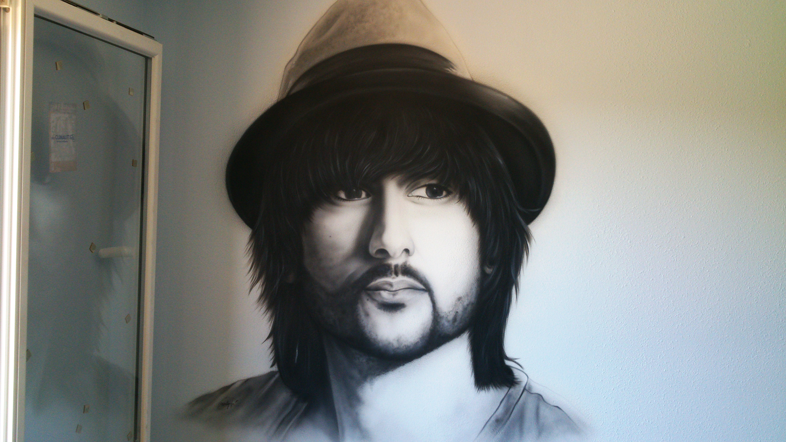 Aerografia Mural del cantante Melendi