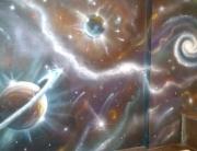Decoración Galaxia en la entrada de una casa