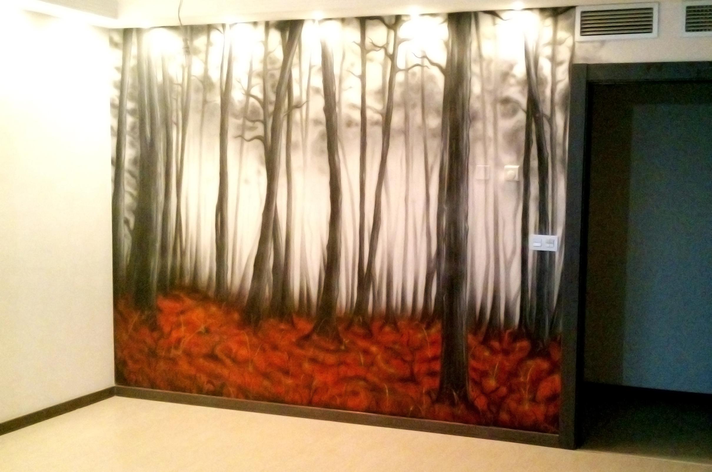 Decoración mural con aerografia en un salon