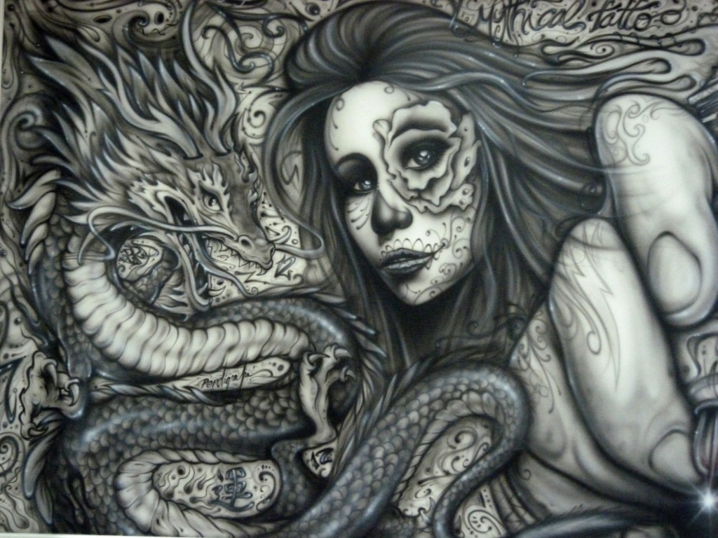 Mural con aerografia decorativa para un estudio tatuaje