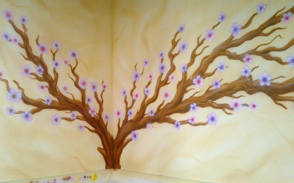 Aerografia arbol en flor sobre fondo rustico