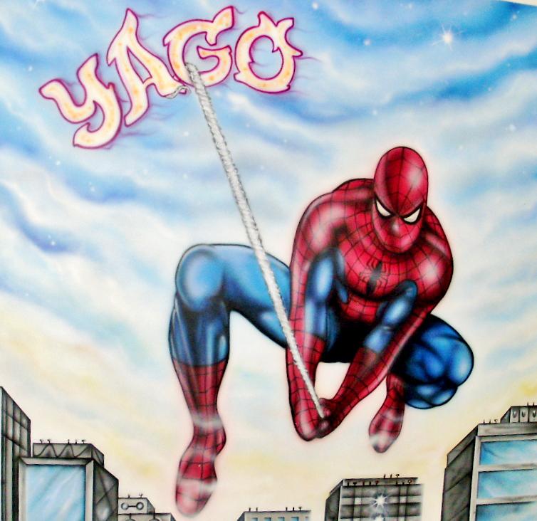 Detalle aerografia mural Spiderman